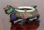 Sale 9070H - Lot 87 - An interesting Chinese silver and enamelled cloisonne dish with green stone ring, Diameter 13cm