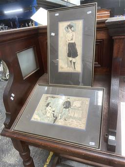 Sale 9094 - Lot 2077 - Late C19th/Early C20th ink and watercolour illustrations by Paul Huchard Boudoir together with Another French School Portrait of a...