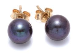 Sale 9124 - Lot 403 - A PAIR OF BLACK PEARL STUD EARRINGS; 7.6mm round cultured pearls of good colour and lustre to 9ct gold fittings.