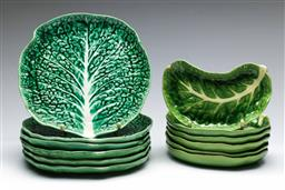 Sale 9168 - Lot 27 - Collection of Portuguese ceramic cabbage form dishes (Dia 22cm, some minor damage)