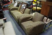 Sale 8129 - Lot 1098 - Art Deco Lounge Suite Inc 3 Seater and A Pair Of Armchairs