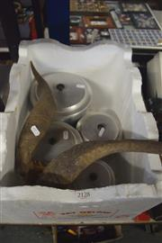 Sale 8189 - Lot 2128 - Box of Metal Canisters w Rams Horns