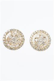 Sale 8322J - Lot 314 - A PAIR OF 18CT GOLD DIAMOND CLUSTER STUD EARRINGS; each a cluster of 7 round brilliant cut diamonds to double surround of tapered ba...