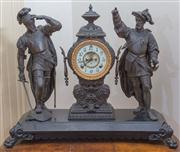 Sale 8430 - Lot 76 - An impressive early C20th Ansonia Mantel clock in spelter, the enamelled dial with visible escapement and flanked by two figures of con
