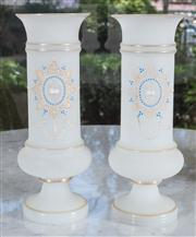 Sale 8435A - Lot 7 - A pair of Victorian milk glass vases with enamelled and gilt decoration, H 30cm