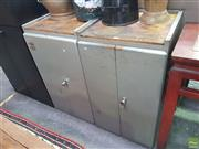 Sale 8607 - Lot 1075 - Pair of Metal Industrial Tool Makers Cabinets
