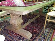Sale 8566 - Lot 1737 - Elm Parquetry Top Stretcher Base Dining Table (250)