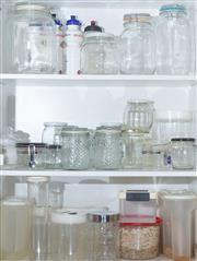 Sale 8562A - Lot 228 - Three shelf lots of assorted glass storage containers together with plastic examples