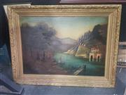 Sale 8833 - Lot 2011 - G. Spruce? European Lake Scene with Chateau,1910 oil on canvas, 95 x 124cm (gilf frame), signed
