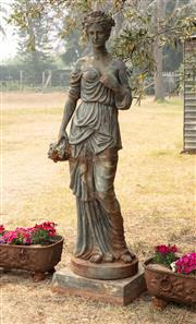 Sale 8871H - Lot 18 - An impressive French antique cast iron statue of a classical maiden, height 197cm