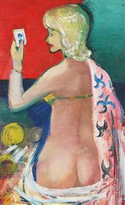 Sale 8901A - Lot 5029 - Harald Vike (1906 - 1987) - Nude With Robe 80 x 47 cm