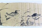 Sale 8909S - Lot 670 - Unframed Chinese ink scroll painting of ducks, L227cm x 32cm)