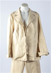 Sale 9003F - Lot 23 - An Escada suit in sand cotton comprising a cuffed blazer with large front pockets and pants, size 44