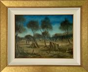 Sale 9044J - Lot 4 - Pro Hart - Greeting in the Bush 44x59cm