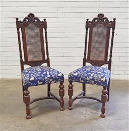 Sale 9108 - Lot 1089 - Pair of fabric upholstered highback chairs with rattan backs (h117 x w42 x d42cm)