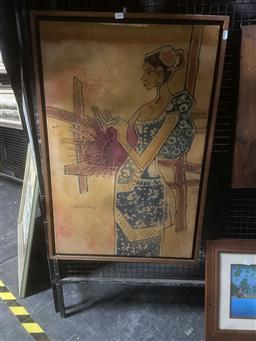 Sale 9113 - Lot 2036 - Malaysian School - Woman Weaving, 1973, batik (AF), 91 x 61.5cm (frame size), signed and dated lower left