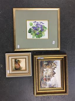 Sale 9118 - Lot 2068 - Group of assorted artworks including Diana Lan Outside Windsor, oil, a still watercolour, and a street scene by S. E. Nangele