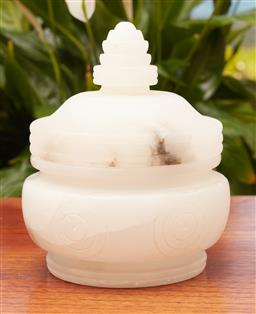 Sale 9099 - Lot 257 - An Indian alabaster lidded pot, Height 16cm,   finial repaired