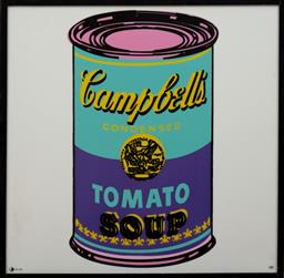 Sale 9150J - Lot 99 - ANDY WARHOL (1928 - 1987) Campbells Soup Can screenprint on glazed ceramic, ed. 25/49 49 x 49 cm signed lower right. Rosenthal Certi...