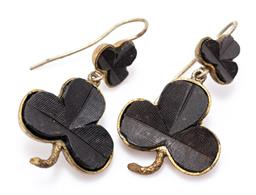 Sale 9180E - Lot 25 - A pair of vintage Irish bog oak and brass earrings in clovers form