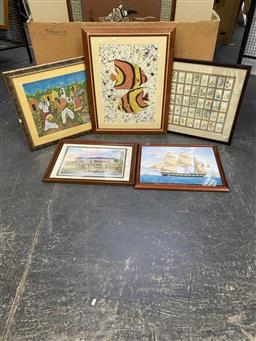 Sale 9176 - Lot 2148 - A collection of 10 pictures and 4 Framed cigarette cards.