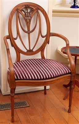 Sale 9190H - Lot 124 - A fine satinwood antique Hepplewhite open armchair C: 1900, numbered 55372 and impressed with makers initials J M B. The oval back i...