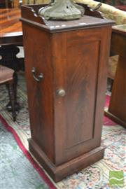 Sale 8291 - Lot 1025 - Victorian Mahogany Bedside Cabinet, with gallery top, panel door and bale handles to sides