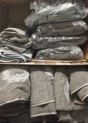 Sale 8310A - Lot 376 - Two boxes of grey towels, including various sized towels and bathrobes