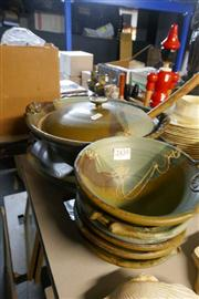 Sale 8360 - Lot 165 - 7 Piece Pottery Soup Set & Matching Bread Dish, marked with stamp
