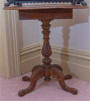 Sale 8430 - Lot 75 - A Victorian burr walnut drop leaf table forming an oval top with two concealed drawers on a turned carved pedestal base, fully opened 7