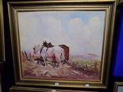 Sale 8437 - Lot 2046 - Gibson Wilson (XX) - Plough Horses at Rest 50 x 60cm