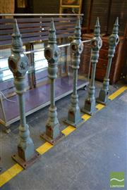 Sale 8520 - Lot 1038 - Collection of 5 Victorian Cast Iron Posts with Turned Columns and Leaf capped Finial ex Sydney Harbour Foreshore