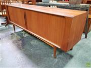 Sale 8607 - Lot 1092 - Superb Danish Bramin Teak Sideboard with Tamboor Doors (H: 80 W: 211 D: 50cm)