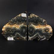 Sale 8567 - Lot 653 - Agate Crazy Lace Bookends, Western Australia