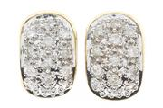 Sale 8584 - Lot 388 - A PAIR OF 10CT GOLD DIAMOND HOOP EARRINGS; 8mm wide hoops with fronts pave set with 26 round brilliant cut diamonds, total wt 6.1g.