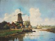 Sale 8892A - Lot 5054 - H Martens (early C20th)  - Dutch Country Scene with River 59 x 78.5 cm