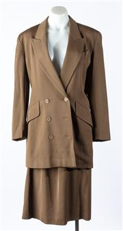 Sale 9003F - Lot 53 - An Escada suit in Khaki Wool comprising a double breasted blazer and knee length skirt  Size 36