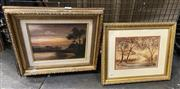 Sale 9016 - Lot 2012 - An early landscape oil painting, together with a watercolour by Kathleen Kelley of a country cottage, signed lower right , frame: 34...