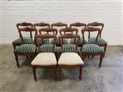 Sale 9068 - Lot 1047 - Good Set of Eleven Victorian Oak Dining Chairs, with shaped open backs, nine with blue striped upholstery, two in cream...