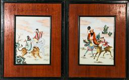 Sale 9098 - Lot 365 - Pair of Timber Framed Chinese Porcelain Panels of Immortals (frame size 49.5cm x 39.5cm)