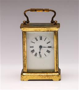 Sale 9122 - Lot 131 - French Brass Carriage Clock (H:11cm) (Untested)
