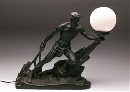 Sale 9119 - Lot 136 - A large figural ceramic table lamp with crackle glass ball shade (H:50cm L:50cm)