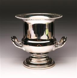 Sale 9119 - Lot 196 - A silver plated, twin handled champagne bucket (H:24cm)