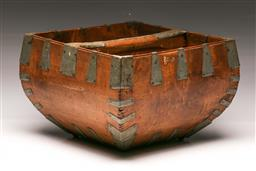 Sale 9122 - Lot 159 - Early Chinese Elm Rice Bucket (H: 22cm W: 33cm D:33cm)
