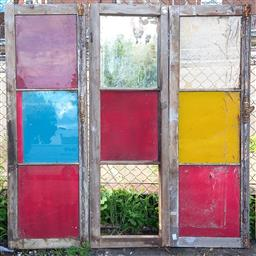 Sale 9151 - Lot 1474 - Set of three timber framed window panels with coloured glass inserts - 196 (h151 x w53cm)