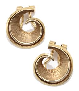 Sale 9164J - Lot 305 - A PAIR OF 14CT GOLD CLIP EARRINGS; engraved nautilus design made in Germany, size 18mm, wt. 6.16g.