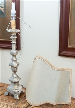 Sale 9165H - Lot 65 - A carved and gesso florentine torchere base lamp and semishade, with losses. Base height 71cm