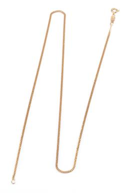 Sale 9194 - Lot 567 - AN 18CT GOLD CHAIN; 1.66 mm wide curb link chain to bolt ring clasp, length 50cm, wt. 5.96g,