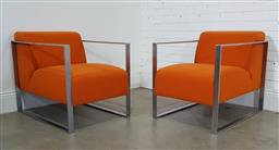 Sale 9188 - Lot 1056 - Pair of orange upholstered lounge chairs in square form chrome frames (h70 x w60 x d84cm)