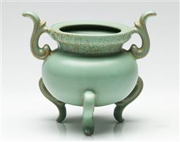 Sale 9190 - Lot 53 - A celadon Chinese tri footed brush washer (H:11.5cm)